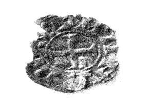 Moeda de alfonso VII atopada na Villa de Patrono_cruz patada símbolo numismas de Alfonso VII