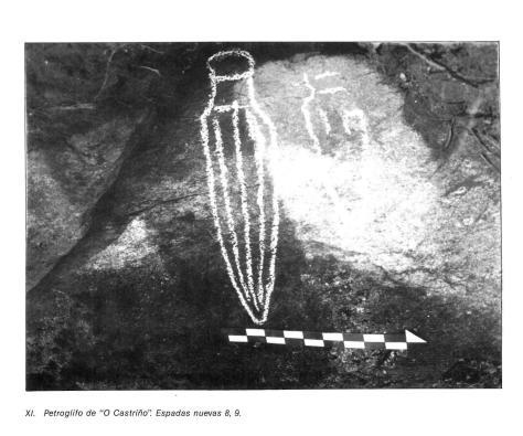 espadas novas do castriño de conxo atopadas por M.J.Soto Barreiro no 1986