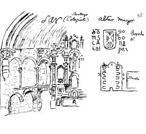 Deseño do frade P. Nolasco Gaite da capela maior co antigo retablo atribuído a Miguel de Romay e un pequeno debuxo da planta da igrexa coa arcada románica do claustro (2).