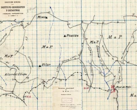 Plano dos camiños do Piquiño. 1940. Arquivo do Concello de Teo